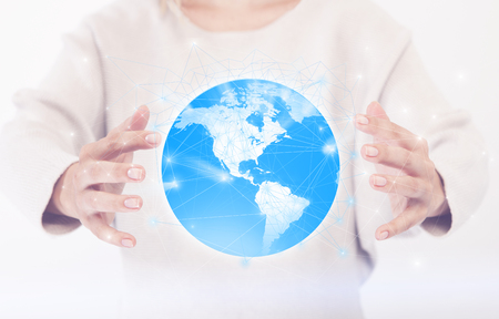 Connected hands include the globe, not a face