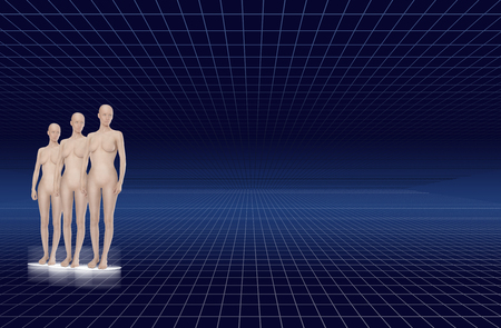 three artificial female clones in front of a blue gridded background