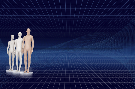 three artificial male clones in front of a blue gridded background