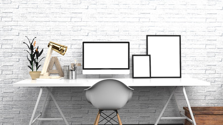 Creative Home Office, Modern Studio Or Contemporary Workspace Interior Mock up, Blank Desktop Computer Screen, Photo Frames, 3D Rendering, White Brick Background , Front View Stock Photo