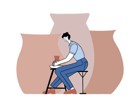 Pottery hobby. Handcrafted earthenware, pottery studio. Ceramic craft master, ceramics pottery artist or pot craftsman workshop vector flat illustration. Men, guy making clay pots, crockery, other ceramics at pottery workshop.
