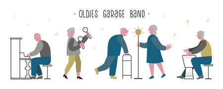 Elderlies, seniors sing and play in a band. Couple sings with enthusiasm. Oldies mens piano, drum play. Lady maracas plays. Concept vector illustration for nursing home banner, web, club. Illusztráció