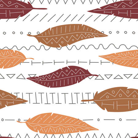 Vector seamless pattern with feather of bail eagle, quill on ethnic background