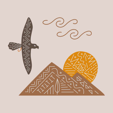 Vector illustration with free flying eagle from wild west, sunset in mountains in ethnic style. For card, web, print