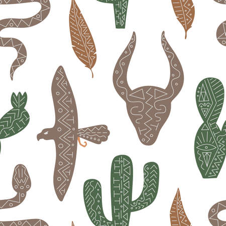 Vector seamless pattern with wild west animal, bird, serpent for menu, web, fabric in ethnic trendy style
