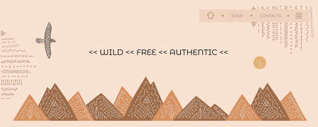 Banner, home page for website with vector eagle, mountains from wild west. Ethnic style, boho ornament.