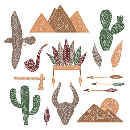 Set of wild west elemets, isolated vector feathers, pipe, eagle, cactuses, mountains, bull, arrows. Can use for menu, web, stickers, decorating.