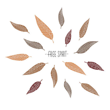 Simple vector illustration where some feathers flying around lettering Free Spirit. Trendy color