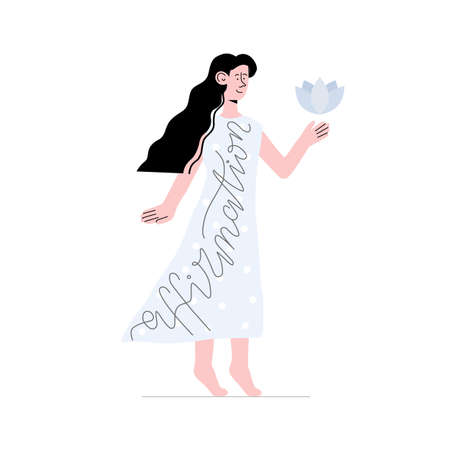 A woman dressed in affirmation. Vector illustration with girl in long dress with lotus, lettering. Can use for article, banner