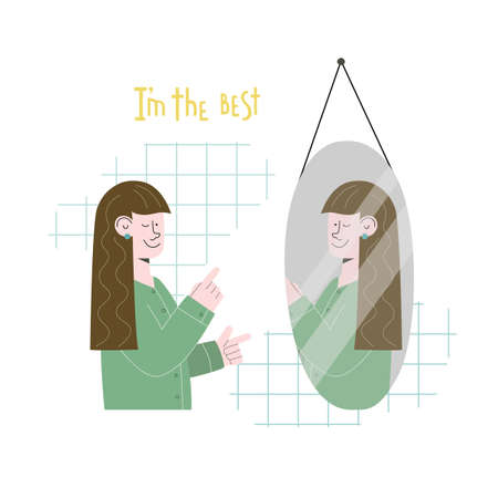 Beautiful girl is looking in the glass and saying affirmation. Lettering I am the best. Vector illustration for banner, card, sticker, article.