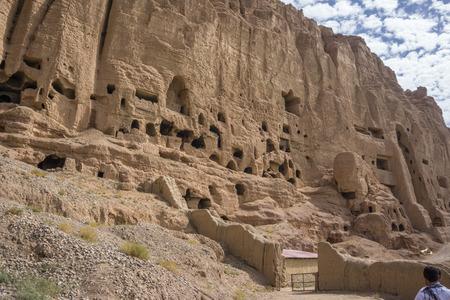 taliban: caves near the buddhas of bamiyan Stock Photo