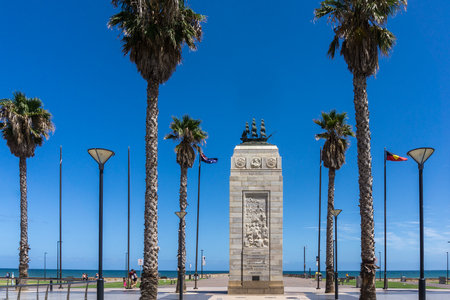 Pioneer Settlers Monument, Glenelg, South Australia Editorial