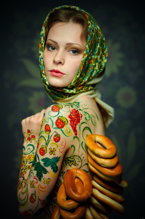 matriosca: Russian nesting doll girl style in a bread-rings