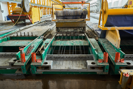 Manufacturing concrete slabs. reinforced concrete production Stock Photo