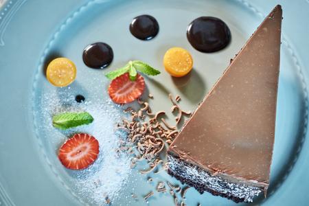 custard slice: Tiramisu dessert on wooden table. Top view with copy space jpg Stock Photo