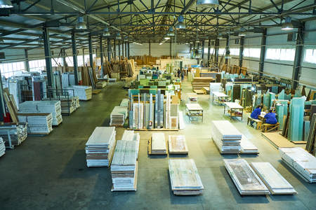 warehouse of finished and packed doors, production of interior and metal doors
