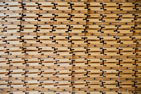 warehouse with wooden blanks, parts, production of interior doors