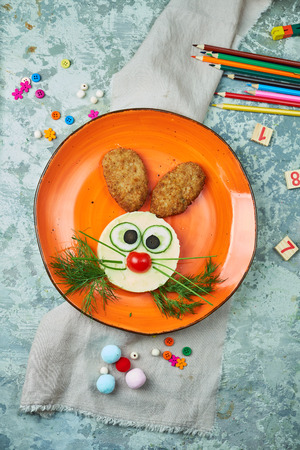 Kids menu, cutlets with mashed potatoes in the form Фото со стока
