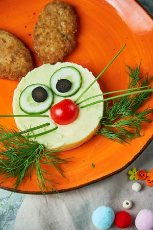 Kids menu, cutlets with mashed potatoes in the form Banco de Imagens