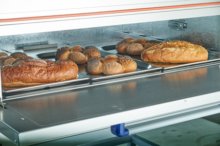 Industrial electric oven for catering with set food Imagens