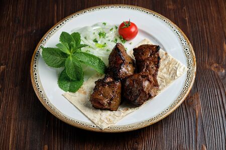 Beef skewers with thin pita bread . catering menu Фото со стока