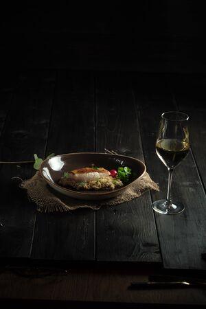 Meat steak with pearl barley . catering menu