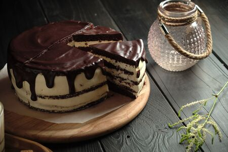 Chocolate cake with butter cream . catering menu Stockfoto