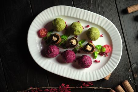 Sicivi and appetizer balls of vegetables . catering menu Stockfoto