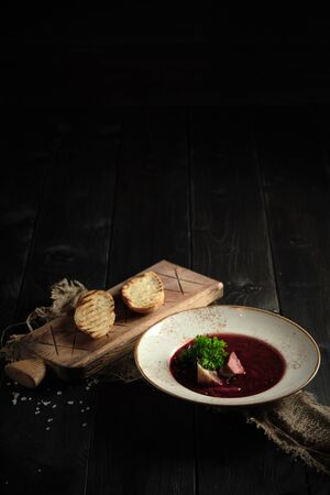 Beetroot borsch. catering menu