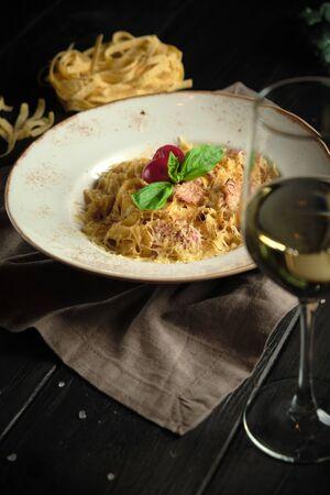 Carbonara pasta . catering menu