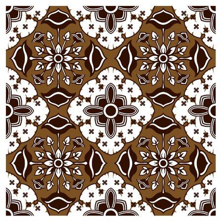 javanese: Dark Brown Batik Pattern Illustration