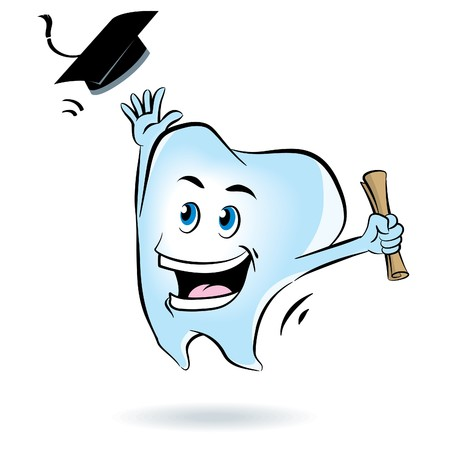 cartoon graduation: Tooth Graduation Illustration