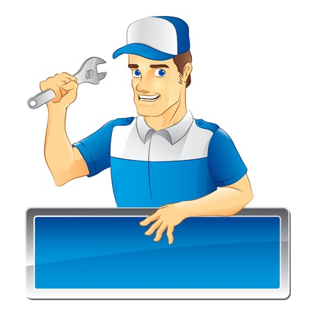 mechanic cartoon: Mechanic with Blue Hat