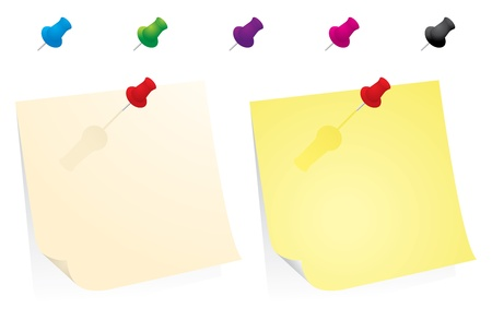 inexpensive: Yellow Paper With Colorfull Pins Illustration