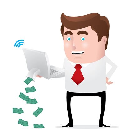 money online: Making Money Online Illustration