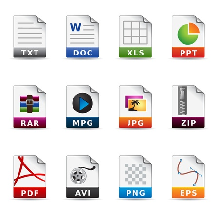 Web Icons - Dateitypen Standard-Bild - 10444873