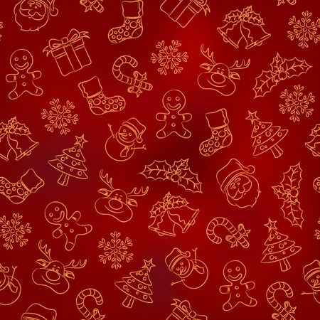Seamless Doodle Pattern - Christmas Vector