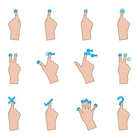 montrer du doigt: Les gestes tactiles Illustration