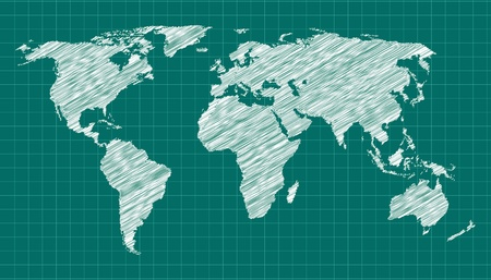 map pencil: World Map Sketch Illustration