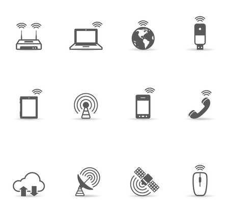 sharing information: Wireless world icon set in single color. EPS 10 with transparent shadow placed on separate layer. No spot color used. AI, PDF and transparent PNG of each icon included. Illustration
