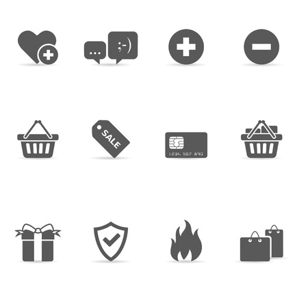 Ecommerce icon set in single color. EPS 10 with transparent shadow placed on separate layer. No spot color used. AI, PDF and transparent PNG of each icon included. Font used: Dejavu Sans (http:www.fontsquirrel.comfontsDejaVu-Sans) Bitwise (http:www.