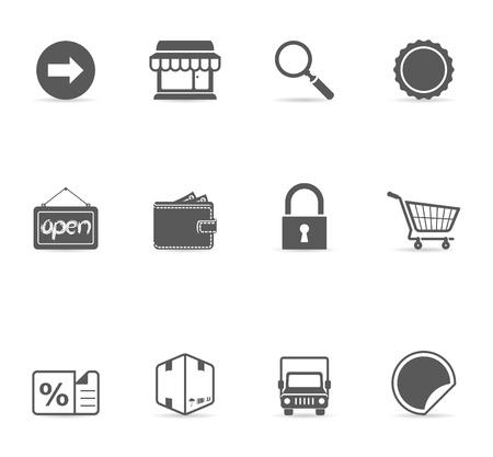 E-commerce icon set in een kleur. EPS 10 met transparante schaduw geplaatst op aparte laag. Geen steunkleur gebruikt. AI, PDF en transparante PNG van elk pictogram inbegrepen. Gebruikte lettertype: Dejavu Sans (http://www.fontsquirrel.com/fonts/DejaVu-Sans)