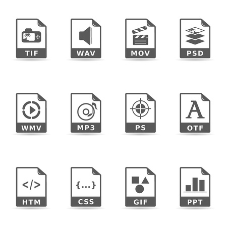 File format icon set in single color. EPS 10 with transparent shadow placed on separate layer. No spot color used. AI, PDF and transparent PNG of each icon included. Font used: Dejavu Sans (http:www.fontsquirrel.comfontsDejaVu-Sans) Vector