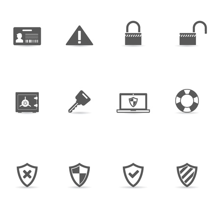 Security icon set in single color. EPS 10 with transparent shadow placed on separate layer. No spot color used. AI, PDF and transparent PNG of each icon included. Ilustração