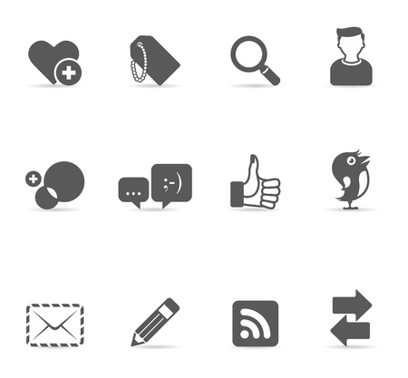 greyscale: Social network icon set in single color. EPS 10 with transparent shadow placed on separate layer. No spot color used. AI, PDF and transparent PNG of each icon included.