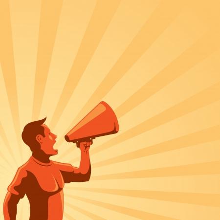hombre megafono: Hombre con altavoz