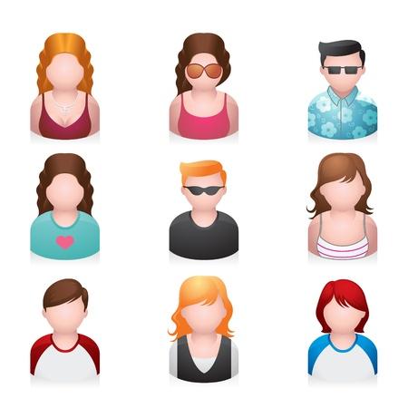 avatars: Icone Persone - maggior numero di giovani Vettoriali