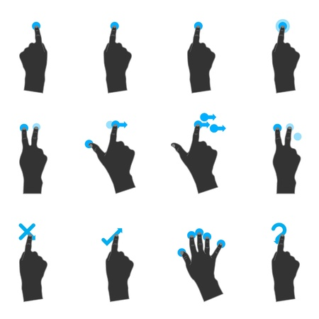 flick: Duotone Color Icons - More Touchpad Gestures Illustration