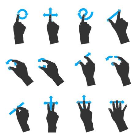 dedo se�alando: Iconos Duotone de color: M�s gestos del trackpad Vectores