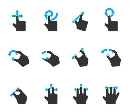 Iconos Duotone de color - Trackpad Gestos Ilustración de vector